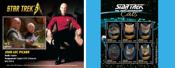 Star Trek Cat And Picard Stamps