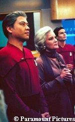 Admiral Janeway and Harry Kim in 'Endgame' - Courtesy TV Guide