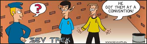 Sev Trek - cartoon spoofs of Star Trek. Copyright 1997 by John Cook.