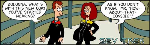 Sev Trek - cartoon spoofs of Star Trek. Copyright 1999 by John Cook.