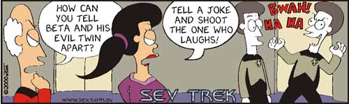 Sev Trek Comic Strip. Copyright 2000 by John Cook.