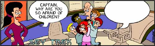 Write Your Own Sev Trek Competition - cartoon spoofs of Star Trek. Copyright 1999 by John Cook.