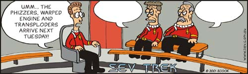 Sev Trek Movie Cartoon Contest. Copyright 2000 by John Cook.
