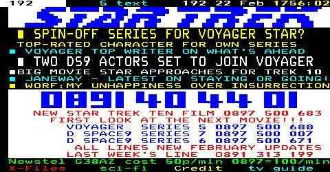 Sky Teletext Page 192 Star Trek Headlines: