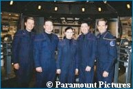'Connor Trinneer, Aviation Electronic Technician First Class Robert Pickering, Personnelman Third Class Sara Elizabeth Pizzo, Aviation Electrician's Mate Second Class Timothy Whittington and Scott Bakula on the 'Enterprise' bridge' - courtesy PRNewswire, copyright Paramount Pictures